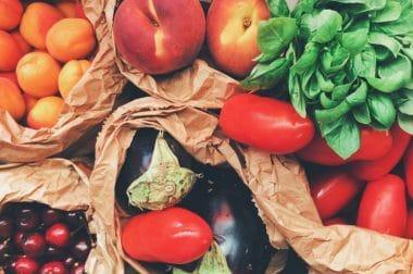 bags of fresh fruit and veggies