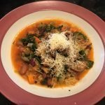 bean and kale strew with pangrattato