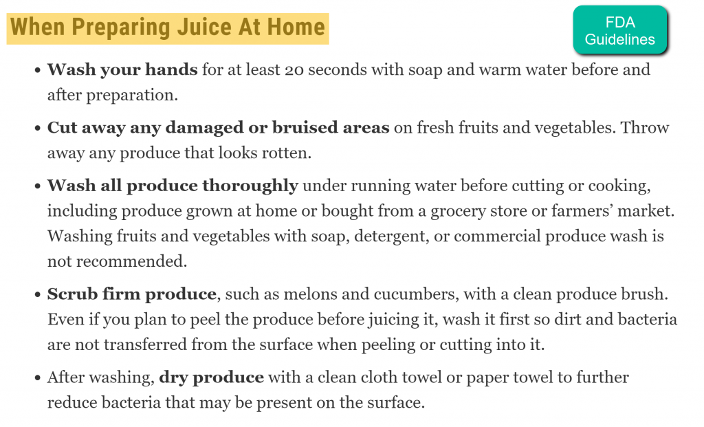 Preparing Juice at Home - FDA Guidelines